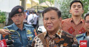 Menteri Pertahanan RI Prabowo Subianto ketika diwawancara.(Foto: CNN Indonesia/Feri Agus Setyawan)