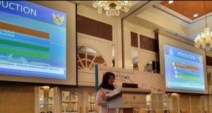 Kasubdit Data Bakamla RI Kolonel Bakamla Tuti Ida Halida, S.T., M.I.T.M, saat menjabarkan gagasan dan upaya yang dilakukan Bakamla RI/Indonesian Coast Guard (IDNCG) dalam mengamankan Selat Singapura.