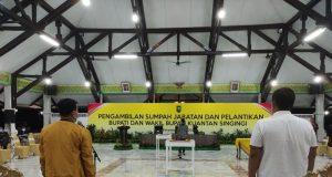 Geladi Pelantikan Bupati dan Wakil Bupati Kuantan Singingi (Kuansing) terpilih, Andi Putra dan Suhardiman Amby, di Balai Pelangi, Pekanbaru, Selasa (1/6/2021) malam.